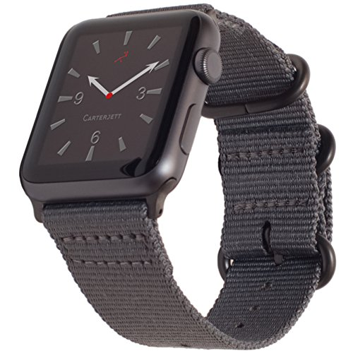 Apple Watch Band NYLON NATO 42mm SPACE GRAY iWatch Band with Durable Matte GREY Adapters and Buckle Clasp for Apple Watch Sport, Nike, Series 3, 2, 1- Multiple Colors in 42mm & XXL by CARTERJETT