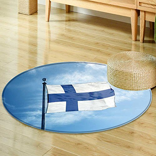 (Anti-Skid Area RugFlag of Finland on The mast Soft Area Rugs-Round 35