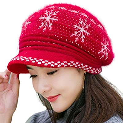 Usstore Women's Ladies hat Trendy Winter Keep Knitted Warm Beret Baggy Beanie Slouch Snowflake Cap