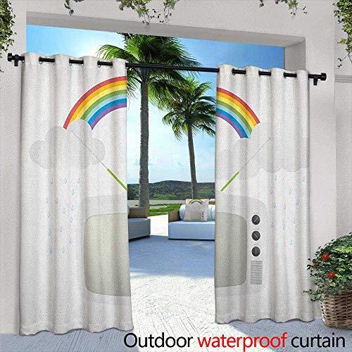 LOVEEO Vintage Rainbow Outdoor Window Curtains Old TV with Raining Clouds on Antennas Broadcast Entertainment Technology Draft Blocking Draperies 108