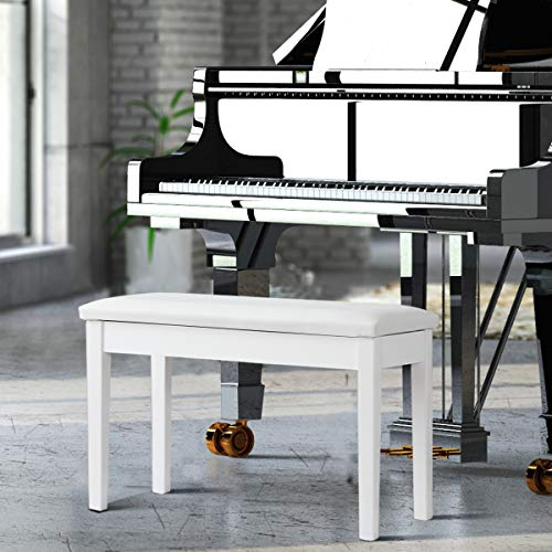 Giantex Piano Bench W/Padded Cushion And Music Storage, Comfortable Double Duet Seat, Wooden Legs, Perfect For Professional Or Home Use PU Leather Piano Stool (White)