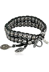 """Ettika Men's Silver-Colored Barrel Beads Leather Wrap Bracelet with Charms, 3"""""""