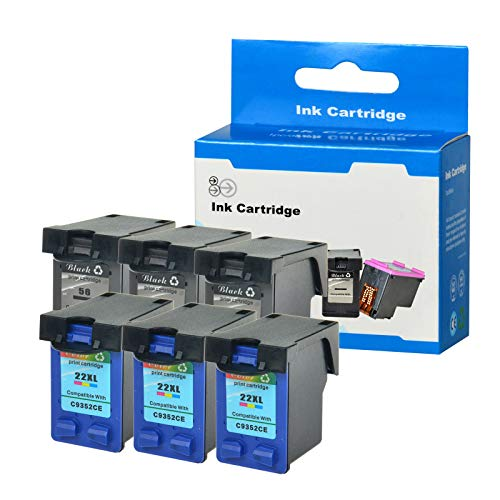 SuperInk 6 Pack Remanufactured Ink Cartridge Replacement for HP C6656AN C9352CE 56 22 22XL (3 Black,3 Tri-Color) Compatible HP Officejet 5605 5607 5608 5609 5610 5615 5679 5680 All-in-One Printer