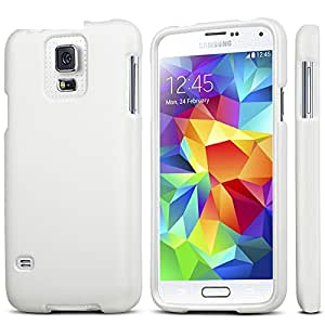 Slim Light Weight 2 piece Snap On Non-Slip Matte Hard Rubber Coated Rubberized Premium Protection Case Cover For Samsung Galaxy S5 SV M-G900H - White - Retail Packaging