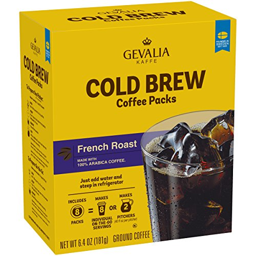 Gevalia French Roast Cold Brew, Coffee Packs, 6.4 Ounce