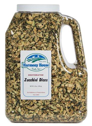 Harmony House Foods, Dried Zucchini, Diced, 38 Ounce Gallon Size Jug