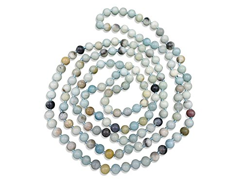 Amazonite Long Necklace (BjB Jewelry 60 Inch Polished Genuine Amazonite Multi-layer Long Endless Infinity Beaded Necklace. (Amazonite))