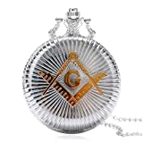 New Brand Mall Engraved Freemasonry Masonic Silver Finish Quartz Pocket Watch With Chain