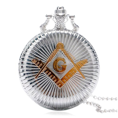 New Brand Mall Engraved Freemasonry Masonic Silver Finish Quartz Pocket Watch With Chain Silver White Gold Pocket Watch