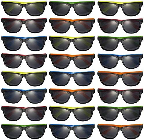 Prextex 25 Pack UV Protected Kids Neon Sunglasses Assorted Neon Colored Perfect Kids Party Favors Toy Glasses for Summer Outdoor Fun closing day of faculty items for children
