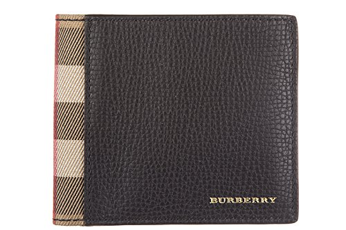 Burberry men's genuine leather wallet credit card bifold tartan house check blac (Wallet Burberry Men)