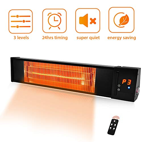 Electric Patio Heater- Adjustable 1500W Outdoor Heater w/Remote 24H Timer Overheat Protection, Infrared Heater 3s Instant Heat Quite Easy Install Wall Mount Space Heater In/Outdoor Dustproof Backyard