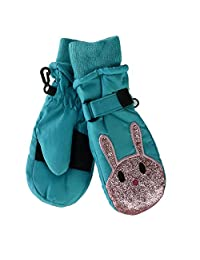 Grand Sierra Toddler Girl's 2-4 Sparkle Face Ski Mitten, Blue