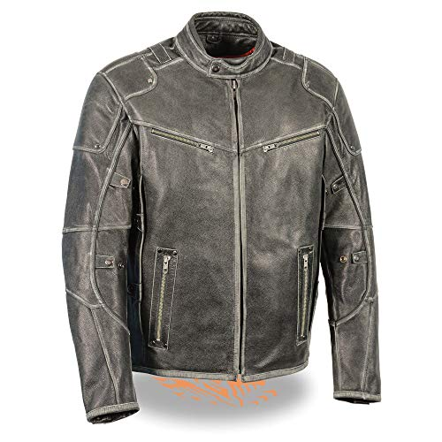 (Milwaukee Leather Men's Triple Vented Jacket w/Side Stretch-Distressed Gry-X-Large Grey )