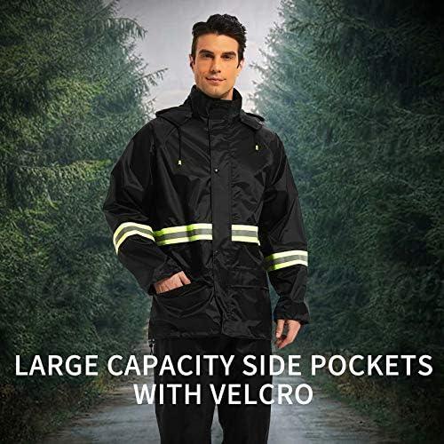 Rain Suits for Men Women Waterproof, Breathable Rain Coats with Eye-Catching Reflective Strip, Durable Rain Gear Jacket Pants