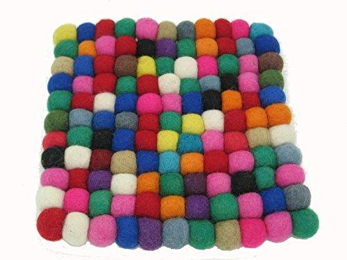 Handmade Polka Dot Felted Wool Bead Trivet – Square