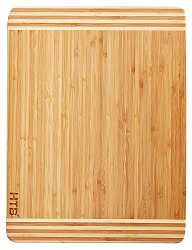 HTB Bamboo Cutting Board,Organic Kitchen Chopping Board For Bread,Cheese,Meat,Veggies board 02L