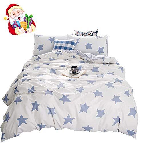 een Duvet Cover Cotton White,Soft 3 Pieces Duvet Cover Set for Kids Adults,Cute Decorative Bedding Sets Full Size,Zipper Closure,No Comforter ()