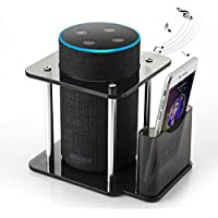 [#1 Deal] Speaker Stand for Amazon Echo 1st, Echo Plus, UE Megaboom, Echo 2nd Generation, Amazon Echo Stand with Remote Holder, Black, Enhanced, Protect and Stabilize Alexa