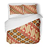SanChic Duvet Cover Set Colorful Indonesia Indonesian Batik Parang Traditional Abstract Beautiful Decorative Bedding Set with Pillow Sham Twin Size