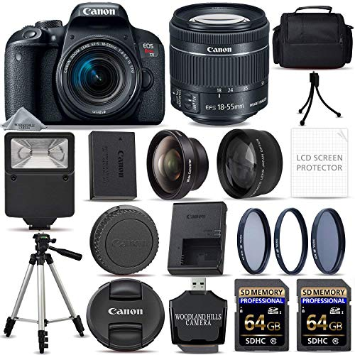 Canon EOS Rebel T7i Digital SLR DSLR Camera + EF-S 18-55mm is STM Lens + 128GB SDHC Memory Card + Flash + 3 Piece Filter Kit + Tripod + Ultimate Starter Bundle