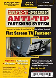 Safe-T-Proof Anti-Tip Fastening System Flat Screen TV Fastener, Black