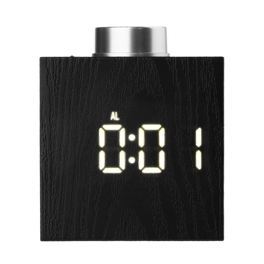 Digital Alarm Clock, YiMiky Temperature LED Display Wood Grain Clock 3 Levels Brightness Simple Operation Electronic Bedside Alarm Clock Snooze for Students Adults - White