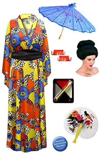 Chrysanthemum Geisha Robe Plus Size Costume - Deluxe Black Bun Wig Kit 8x/9x