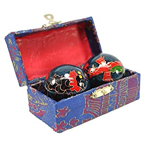Set of 2 Blue Phoenix Dragon Cloisonne Iron Ball Hand Stress Relief EXERCISE Finger Health Therapy US Seller