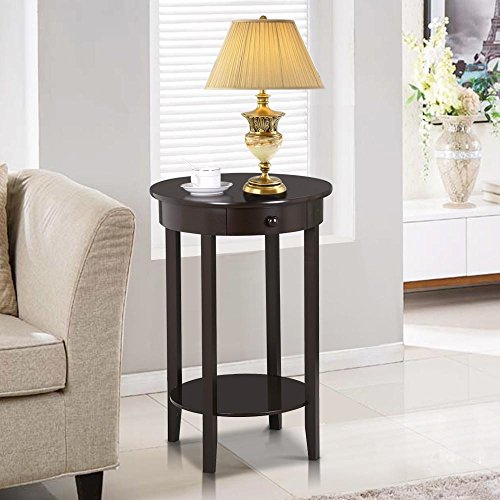 Yaheetech Round Sofa Side End Table with Drawer Wood Beside Nightstand Console Table for Small Spaces Living Room Tall Coffee Accent Tables (Espresso) - Dining Room Round Accent Table