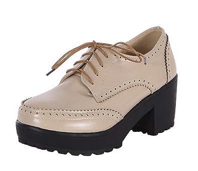 AgooLar Femme Lacet Fermeture d orteil à Talon Correct Chaussures  Légeres b3b8f2d76b7
