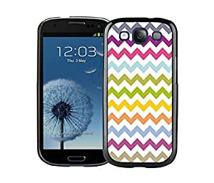 Samsung Galaxy S3 Case Durable Soft Silicone TPU Multi Grunge Chevron Pattern Colorful Black Cell Phone Case Cover Accessories