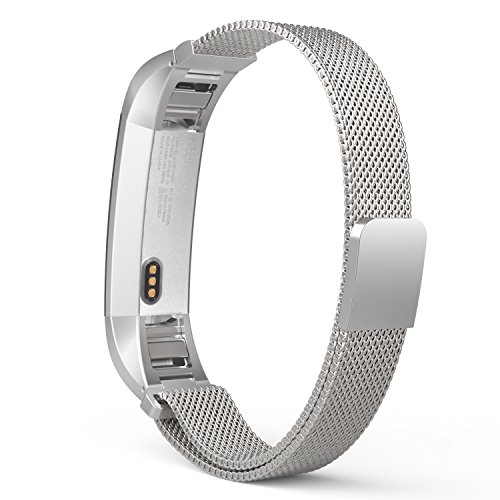 MoKo Fitbit Alta HR and Alta Band, Milanese Loop Mesh Stainless Steel Replacement Bracelet Wrist Strap for Fitbit Alta / Fitbit Alta HR with Unique Magnet Lock, Tracker NOT Included - SILVER by MoKo