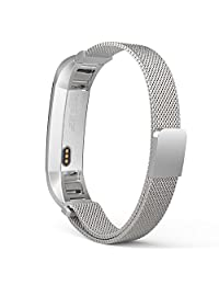 Fitbit Alta HR and Alta Bands, MoKo Milanese Loop Stainless Steel Bracelet Smart Watch Strap for Fitbit Alta / Fitbit Alta HR with Unique Magnet Lock, No Buckle Needed, Tracker NOT Included - SILVER
