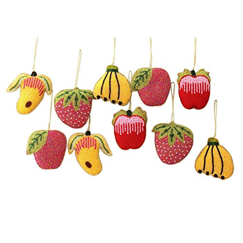 NOVICA Decorative Hand Beaded Hanging Holiday Ornaments, Assorted 'Tropical Fruit' (Set of 10)