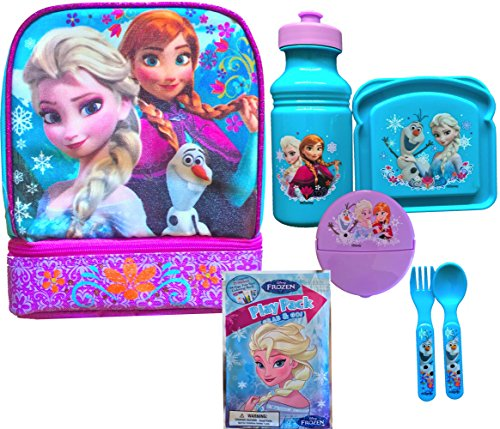 Disney Frozen Anna and Elsa 2 Compartment Lunch Box Bottom and Top Open for Best Storage, Includes Disney Frozen Water Bottle,sandwich and Snack Container, Flatware Set with Play Pack Grab and Go