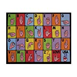 Fun Rugs Fun Time Collection Home Kids Room Decorative Floor Area Rug Sign Language -19''''X29'''' Toys Christmas Gift