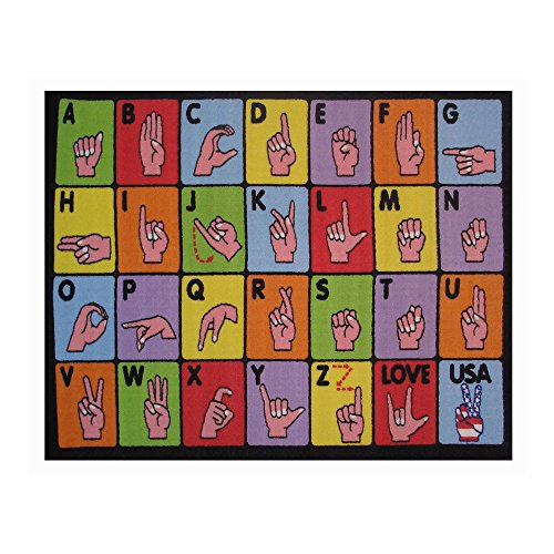 Fun Rugs Fun Time Collection Home Kids Room Decorative Floor Area Rug Sign Language -19''''X29'''' Toys Christmas Gift by Generic