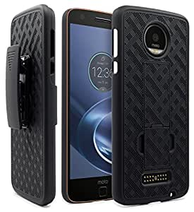 Moto Z Case, Moto Z Droid Holster Case, NageBee Shell Holster Combo Protective Case with Kick-Stand Belt Clip Holster For Moto Z Droid ONLY!!! [!!!NOT Fit Moto Z Force/Moto Z Play!!!] (Black)