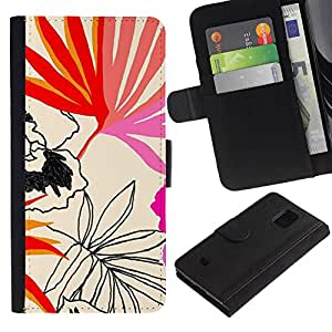 LASTONE PHONE CASE / Lujo Billetera de Cuero Caso del tirón Titular de la tarjeta Flip Carcasa Funda para Samsung Galaxy S5 Mini, SM-G800, NOT S5 REGULAR! / Leaves Art Pattern Nature Summer