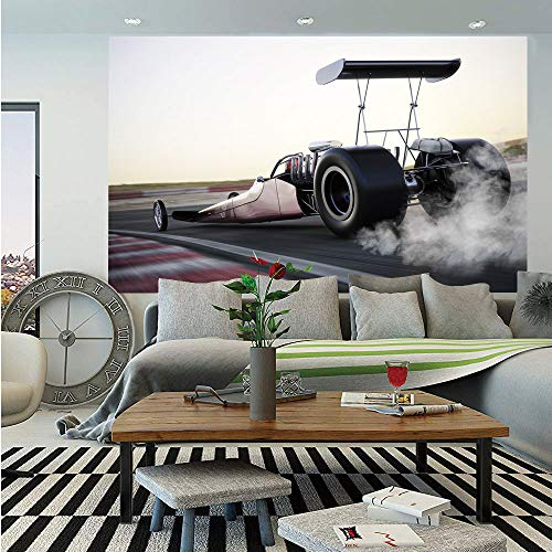 Cars Huge Photo Wall Mural,Dragster Racing Down The Track with Burnout Competition Speed Sports Technology Decorative,Self-Adhesive Large Wallpaper for Home Decor 100x144 inches,Grey Black White