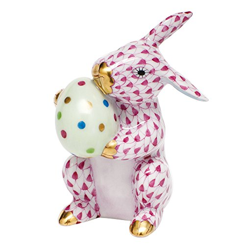 Herend Bunny Figurines (Herend Figurine Easter Bunny Rabbit Raspberry Fishnet)