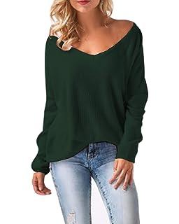ACHIOOWA Damen Pullover Langarm V Ausschnitt Lose Bluse Oversize Sweatshirt  Oberteil Tops ddf8054dbc