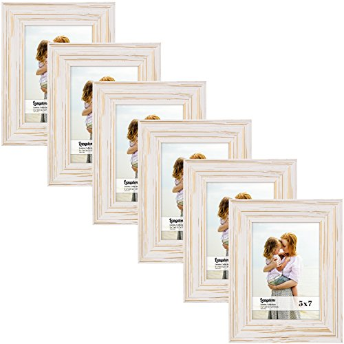 Six Pack Photo (Langdons 5x7 Picture Frame Set (6-Pack, Weathered White) Solid Wood Photo Picture Frames 5x7, Wall Hanging or Table Top, Display White Picture Frame 5x7 Vertically or 7x5 Horizontally, Lumina Series)