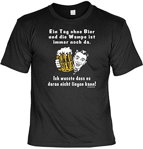T-Shirt mit Urkunde - Ein Tag ohne Bier und die Wampe ist immer noch da - lustiges Sprüche Shirt als Geschenk für Leute mit Humor - NEU mit gratis Zertifikat!