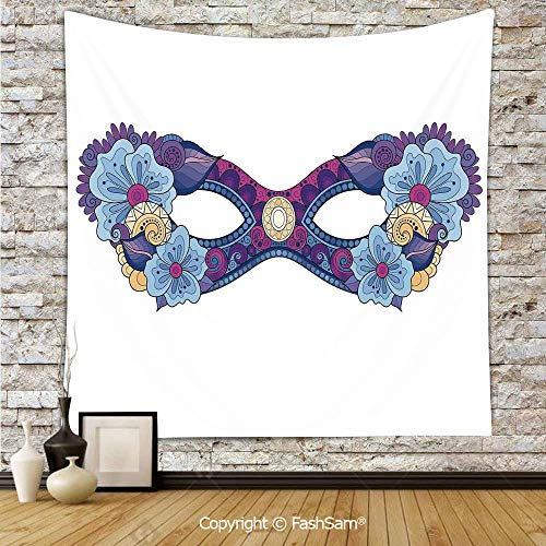 FashSam Tapestry Wall Blanket Wall Decor Colored Carnival Mask with Flowers for Masked Ball Celebration Home Decorations for Bedroom(W39xL59) -