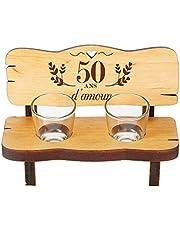 CASA Vivnete Mini Banc en Bois d'Aulne avec 2 Verres à Shot, Gravure pour Les Noces d'or, 50 Ans d'amour, 16,5 x 8 x 8 CM