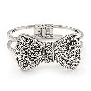 Pulsera ''Lazo'' con bisagra e imitación de diamante en metal en platinado de rodio