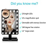 TVictory-20-LED-Lighted-Makeup-Mirror-with-Removeable-10-x-Magnified-Mirror-Touch-Dimmable-with-Memory-for-Tabletop-Bathroom-Bedroom-Shaving-DressingBlack