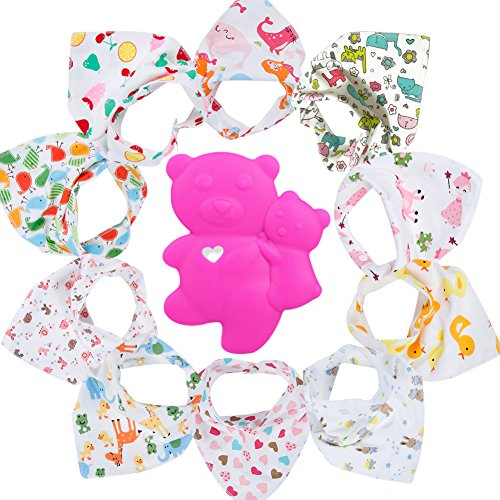 Gemini Fairy Baby Bandana Drool Bibs, Unisex 10-pack Absorbent Cotton, Lovely Baby Gift for Boys & Girls (Model 1)